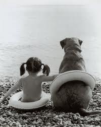 Bimba e cane sulla spiaggia