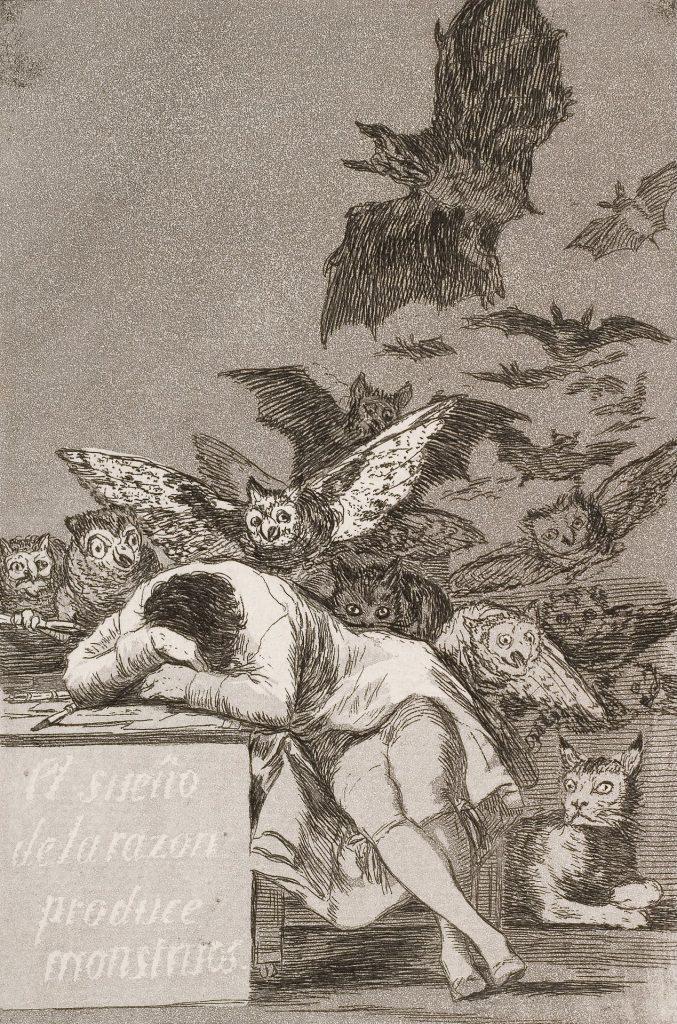 Francisco Goya - Il sogno della ragione produce mostri - 1797 - Tecnica: acquaforte - 23 × 15,5 cm - Biblioteca Nacional de Espana, Madrid