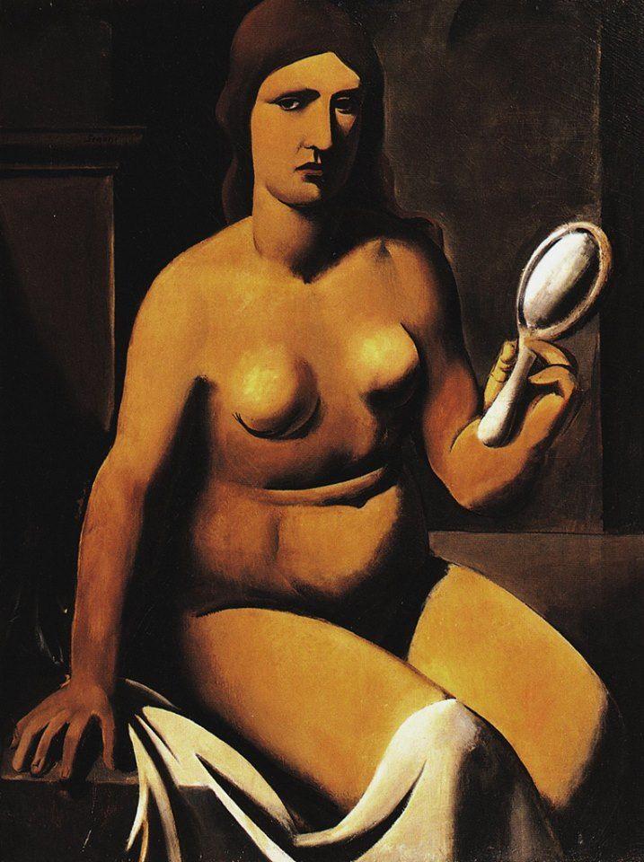 Mario Sironi - Nudo con specchio - Olio su tela - 1924