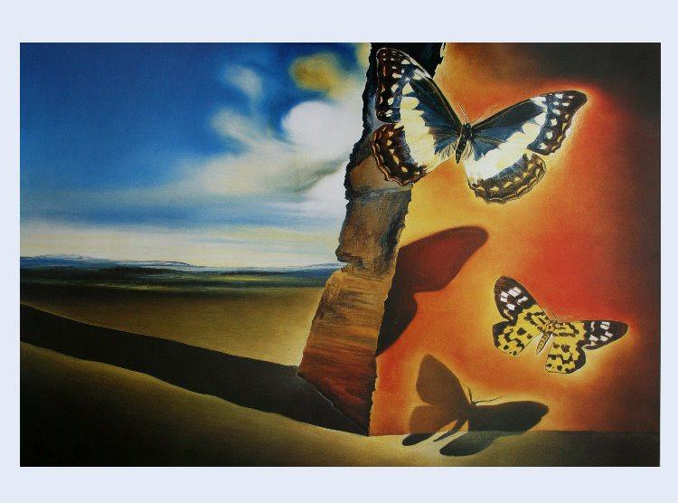 Salvador Dali - Paesaggio con farfalle - 1956