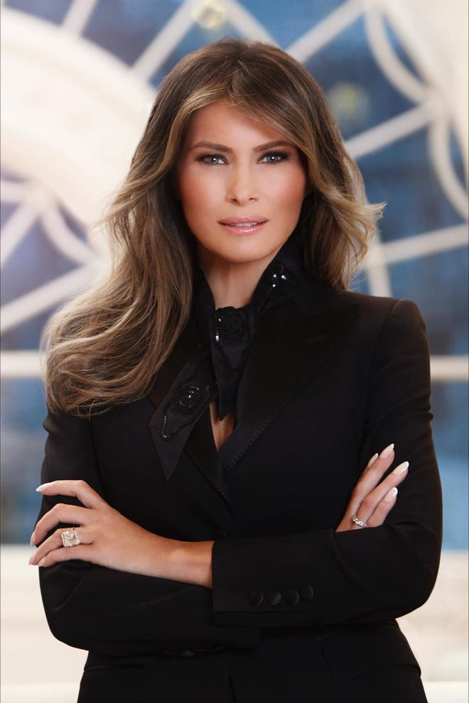 In this photo provided by the White House, first lady Melania Trump in her first official portrait as the first lady as photographed in her new residence at the White House in Washington. (The White House via AP)