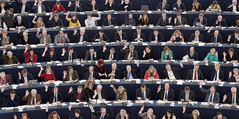 Members of the EU Parliament take part in a voting session, on December 17, 2014 during a session of the European Parliament in Strasbourg, eastern France.  AFP PHOTO/FREDERICK FLORIN        (Photo credit should read FREDERICK FLORIN/AFP/Getty Images)