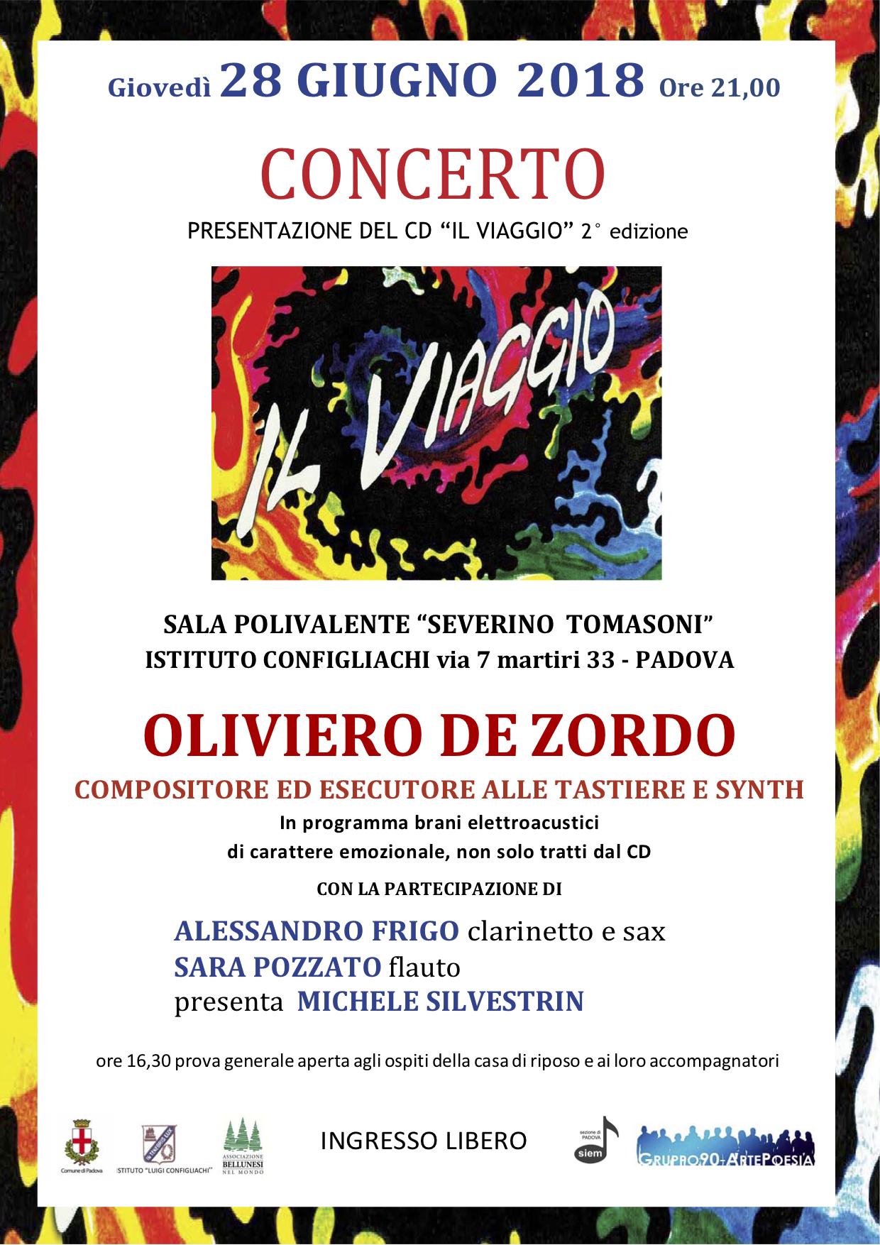 Locandina Concerto presentazione CD IL VIAGGIO - Oliviero De Zordo