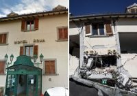 Una combo dell'Hotel Roma di Amatrice (Rieti) prima e dopo il sisma della scorsa notte, 24 agosto 2016. ANSA