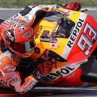 Spain's rider Marc Marquez steers his Honda during the fourth practice session for Sunday's San Marino Moto GP race, at the Misano circuit, in Misano Adriatico, Italy, Saturday, Sept. 10, 2016. (AP Photo/Antonio Calanni)