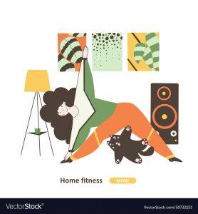 Fitness girl training vector illustration flat design. Home quarantine. Healthy active lifestyle. Fitness workout flat vector character illustration.