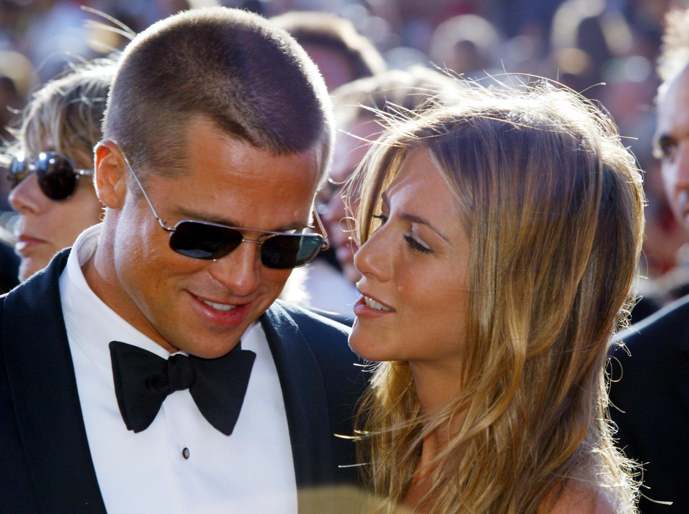 File photo of Brad Pitt and Jennifer Aniston at the 56th annual Primetime Emmy Awards in Los Angeles