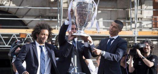 La festa del Real Madrid dopo la vittoria della Champions League