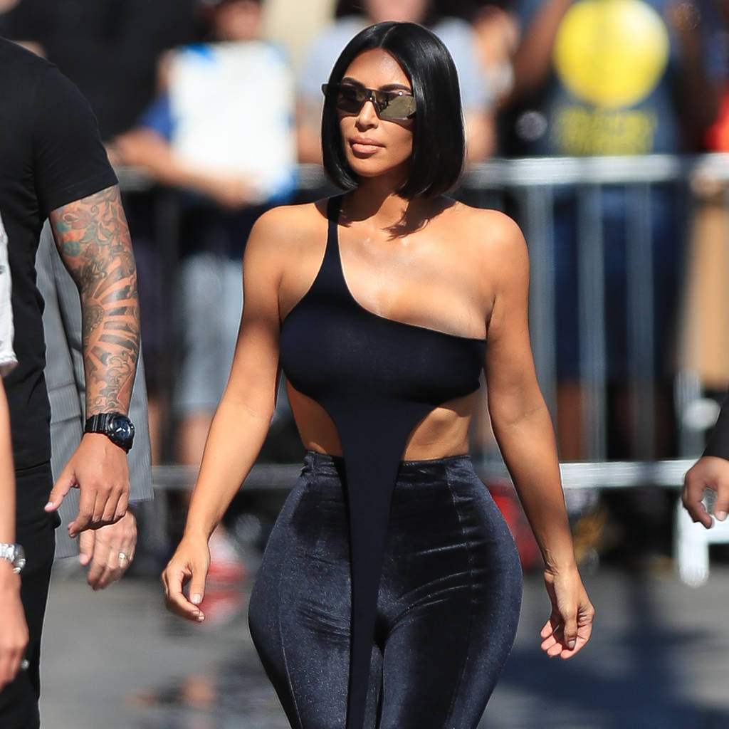 Kim Kardashian Out In All Velvet Fashion In Hollywood showing lots of skin as she arrives at the Jimmy Kimmel TV show for an appearance wearing a clear stilettos and wig.  Featuring: Kim Kardashian Where: Los Angeles, California, United States When: 31 Jul 2018 Credit: WENN.com
