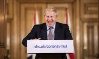 Boris Johnson in conferenza stampa per questione  coronavirus