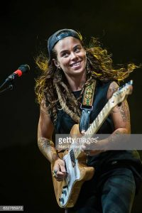 BRISBANE, AUSTRALIA - JANUARY 26:  Tash Sultana performs at St Jerome's Laneway Festival on January 26, 2017 in Brisbane.  (Photo by Marc Grimwade/WireImage)