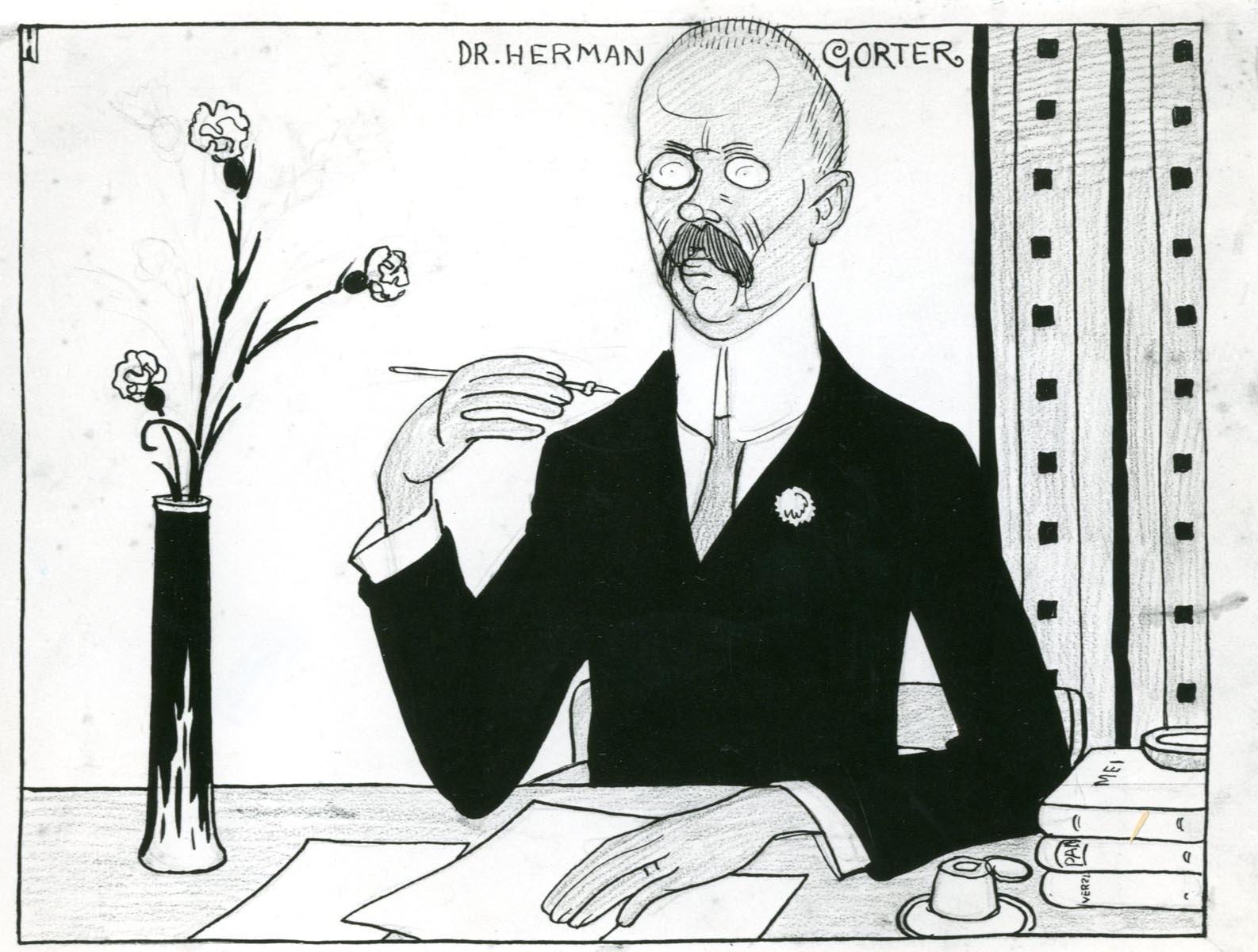 gorter - Karikatuur in De Notenkraker van 24 mei 1913 door Albert Hahn