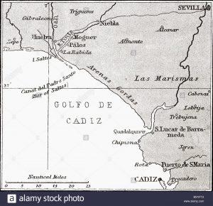 Mappa della costa spagnola da Huelva a Cadice. Dal libro La vita di Cristoforo Colombo da R. Clements Markham pubblicato nel 1892.