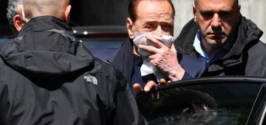 Former Italian Prime Minister Silvio Berlusconi leaves the Madonnina clinic in Milan, Italy, after receiving three stitches, 29 April 2017. Berlusconi has been treated by a doctor after a fall in Portofino on the Ligurian coast.  Ansa/Daniel Dal Zennaro