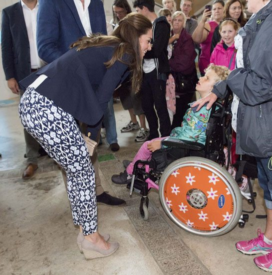 The Duchess of Cambridge meeting Sophie Hipps who suffers from Cerebal palsey during a visit to the Eden Project in Cornwall. PRESS ASSOCIATION Photo. Picture date: Friday September 2, 2016. See PA story ROYAL Cambridges. Photo credit should read: Arthur Edwards/ The Sun/PA Wire