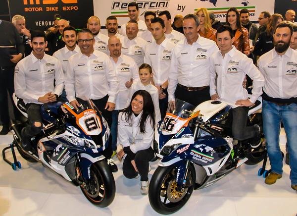 Global Service Solutions Spa, in occasione del Moto MBE presenta il nuovo Team Pedercini Racing e le due nuove Kawasaki