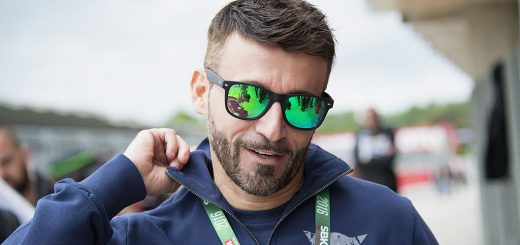 IMOLA, ITALY - MAY 01:  Max Biaggi of Italy looks on in pit during the Supersport race during the World Superbikes - Race  at Enzo & Dino Ferrari Circuit on May 10, 2015 in Imola, Italy.  (Photo by Mirco Lazzari gp/Getty Images)