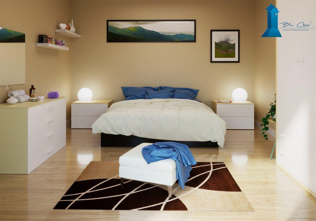 Render camera da letto villa bifamiliare