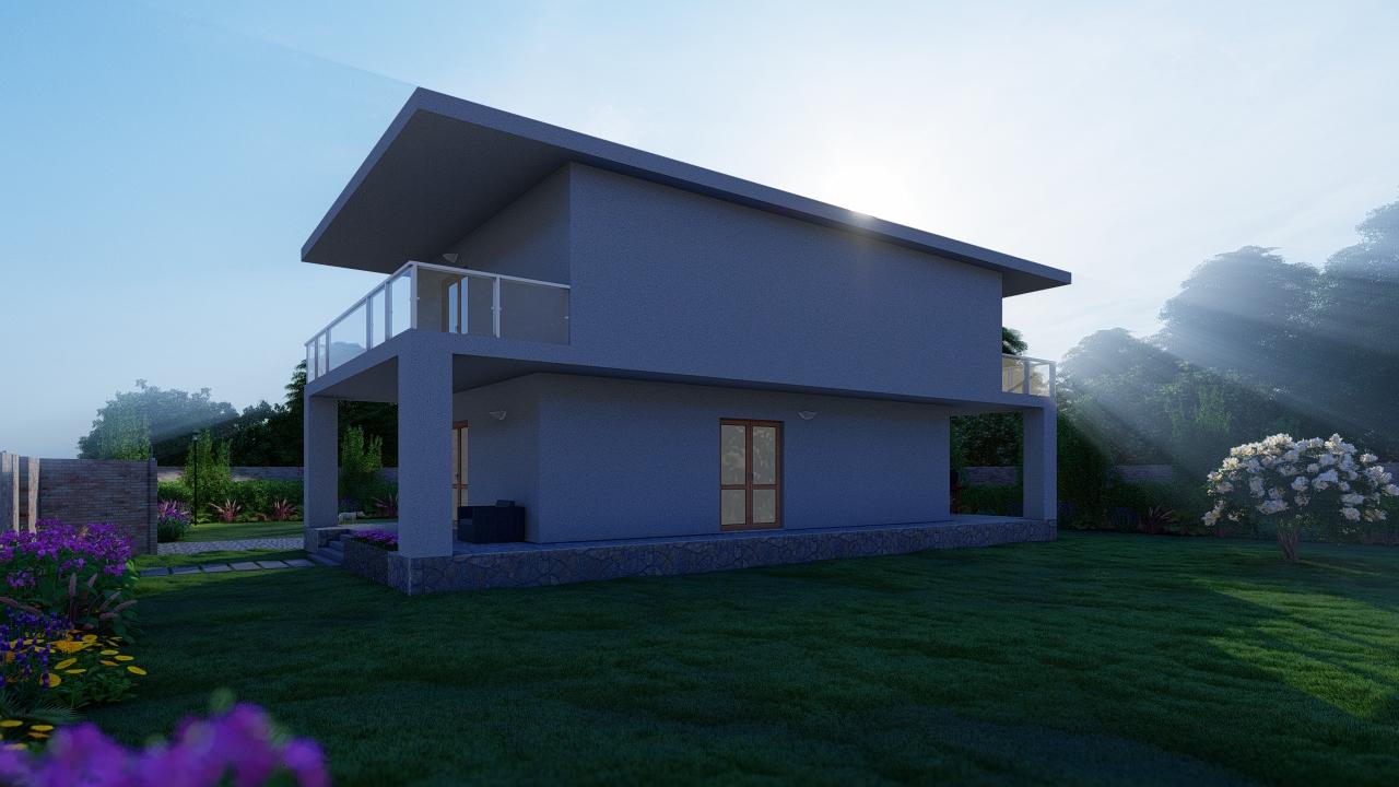 animazione 3D progetto villino unifamiliare - studio di progettazione roma - rendering esterni roma - rendering architettura