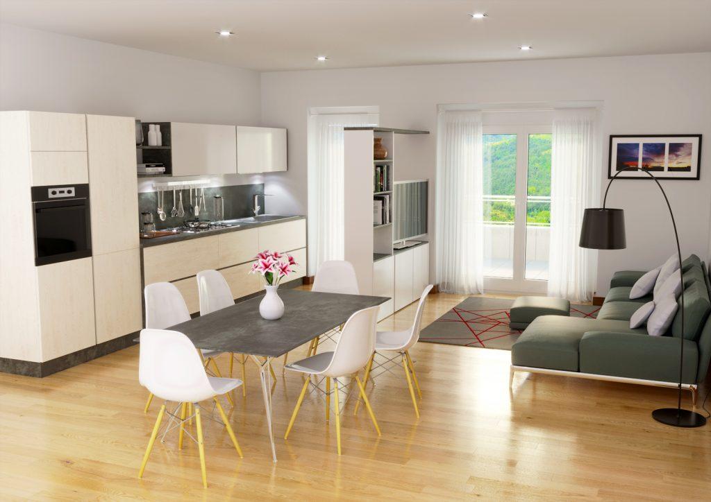 render interni appartamento - rendering Roma - render per agenzia immobiliare - render foto realistico
