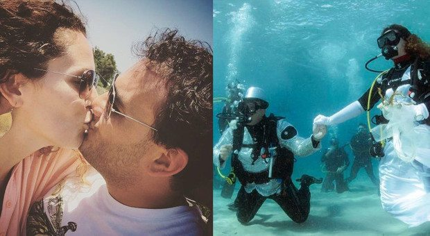 Luca e Laura, matrimonio a 4 metri sott'acqua con quaranta invitati