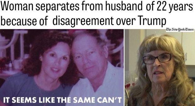 """""""Ha votato Trump, non ci posso credere"""": lascia il marito dopo 22 anni di matrimonio"""