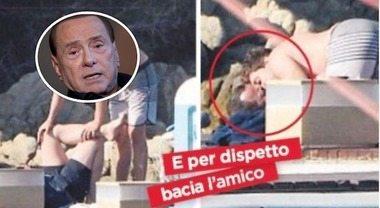 Luigi Berlusconi e il bacio sulla bocca all'amico, la reazione choc di papà Silvio