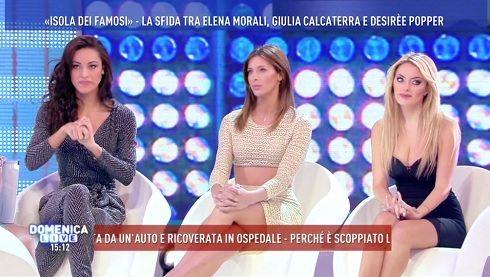 """""""Isola dei famosi"""": sfida tra Elena Morali, Giulia Calcaterra e Desirèe Popper"""