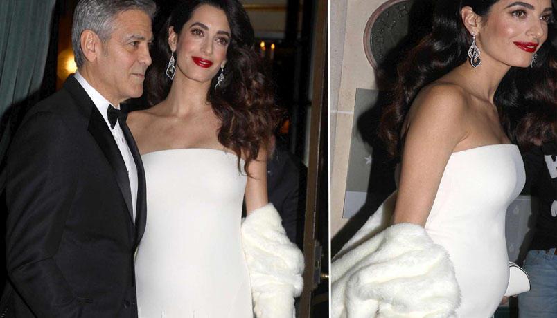 George Clooney e Amal a Parigi, riflettori sul pancione