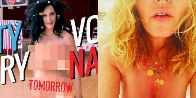 Madonna  come Kate Perry, nu. da per Hillary Clinton