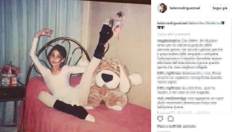 Belen Rodriguez da bambina, la foto su Instagram: paffuta e dolcissima