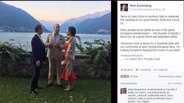 Mark Zuckerberg sul Lago di Como: è testimone di nozze di Daniel Ek, fondatore di Spotify