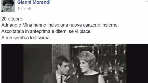 Gianni Morandi pubblica in anteprima su Facebook la nuova canzone di Mina e Celentano
