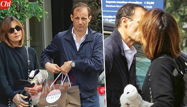 Ambra Angiolini e Massimiliano Allegri in trasferta, baci a colazione