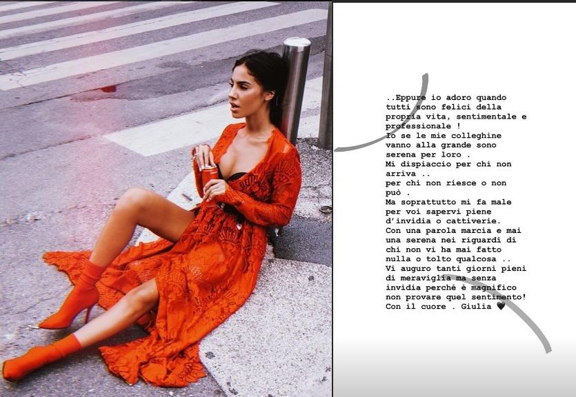 Giulia De Lellis al veleno su Instagram: «Mi dispiace per le mie colleghine che non ci arrivano»