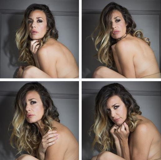 Alessia Fabiani postando gli scatti di Fabrizio Cestari in cui compare in top. less