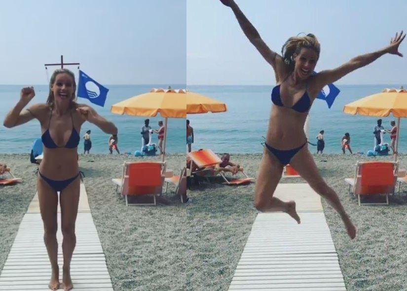 Michelle Hunziker, vacanze spaziale a Varigotti