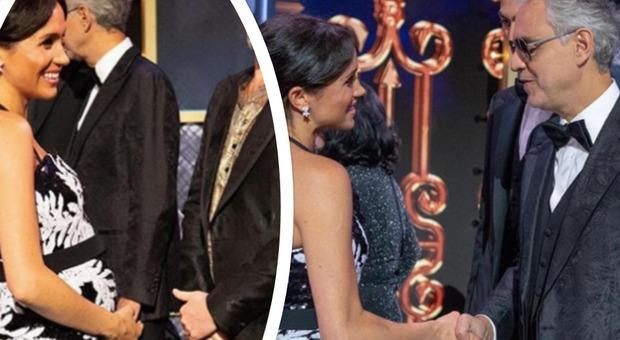 Meghan Markle mostra il pancione e chiacchiera con Andrea Bocelli e i Take That