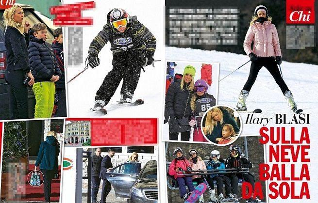 Ilary Blasi,vacanze senza Totti: sulle nevi con i figli Cristian, Chanel e gli amici