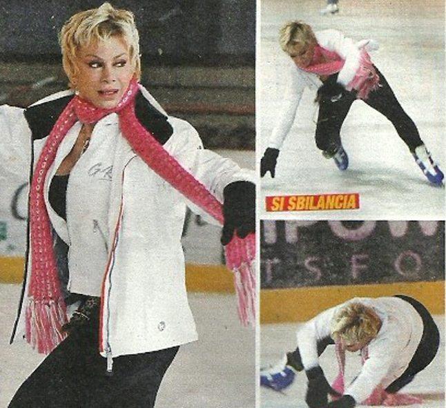 Carmen Russo spericolata, capitombolo con i pattini sul ghiaccio