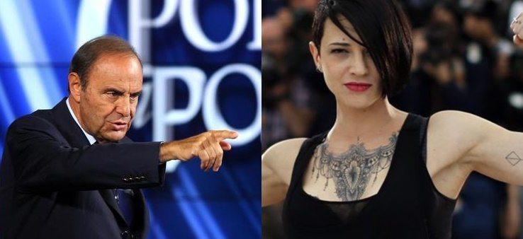 """Weinstein, Bruno Vespa risponde ad Asia Argento: """"L'abbiamo sempre invitata"""""""