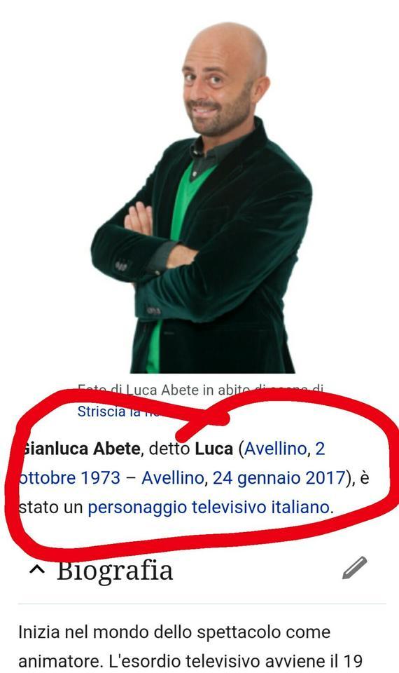 Luca Abete morirà domani: il macabro messaggio su Wikipedia
