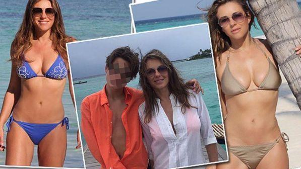 Liz Hurley in bikini, a 51 anni mamma che fisico!