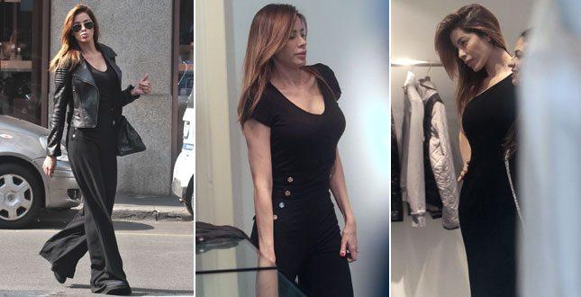 Aida Yespica, shopping esplosivo in total black: quanta abbondanza!