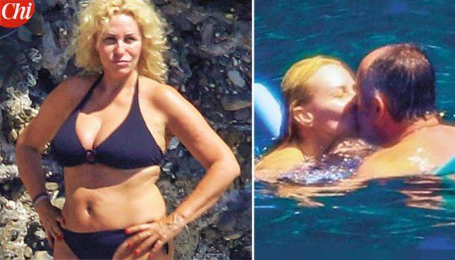 Antonella Clerici, bikini esagerato con Vittorio Garrone
