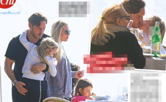 Francesco Totti e Ilary Blasi in gita con la famiglia sul lago di Bracciano