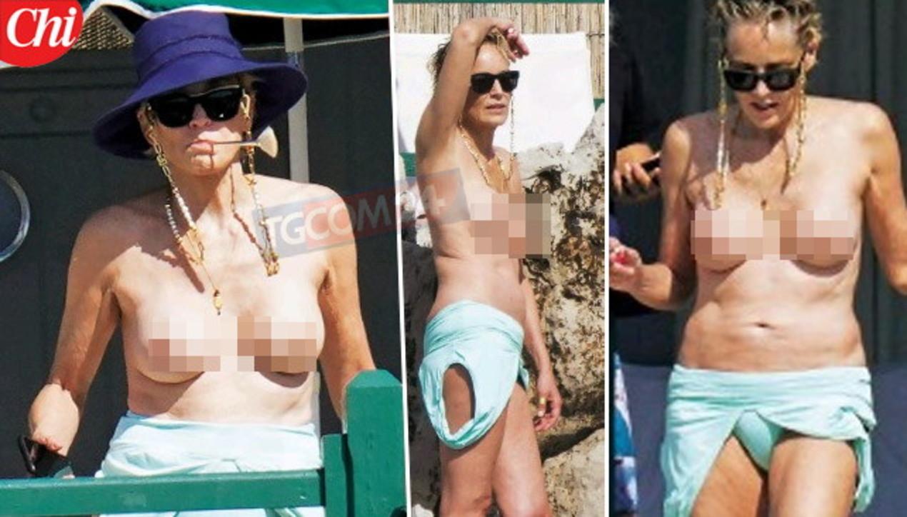 Sharon Stone a 63 anni mostra un topless da effetto wow!