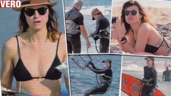 Kasia Smutniak, bikini al sole con Domenico Procacci
