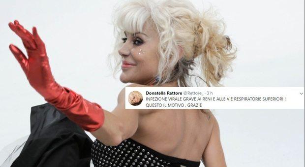 """Donatella Rettore via da Tale e quale Show: """"Infezione virale grave ai reni e alle vie respiratorie superiori"""""""