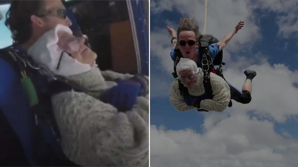 Nonna Irene si lancia dal paracadute a 102 anni: l'ha fatto per una buona causa